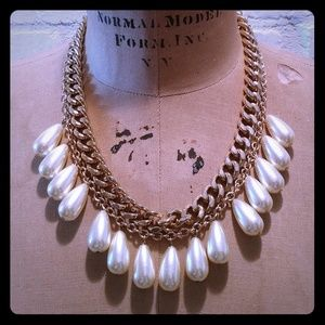 Gaudy Gold & Teardrop Pearls 2 Strand Necklace
